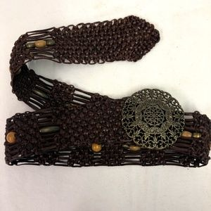 Accessories - Brown Woven Leather Beaded Western style Belt